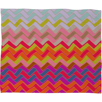Sharon Turner Geo Chevron Plush Fleece Throw Blanket Size: Small