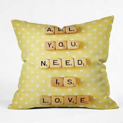 Happee Monkee All You Need Is Love 1 Throw Pillow Size: Large
