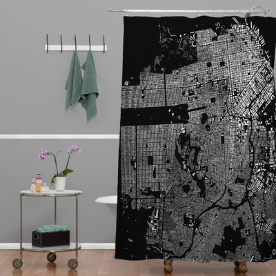 CityFabric Inc San Francisco Shower Curtain Color: Black