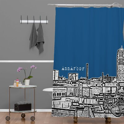 Bird Ave Ann Arbor Shower Curtain Color: Navy