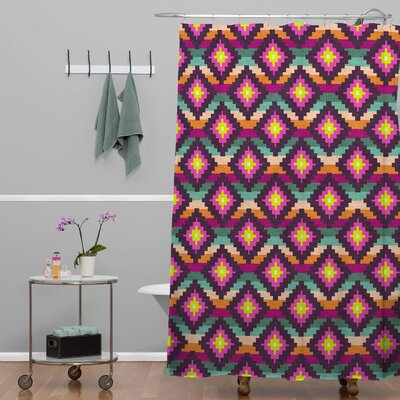 Bianca Green Woven Aztec Diamonds Hammock Shower Curtain