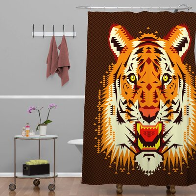 Chobopop Geometric Tiger Shower Curtain