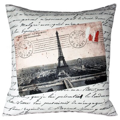 French Vintage Eiffel Tower Throw Pillow