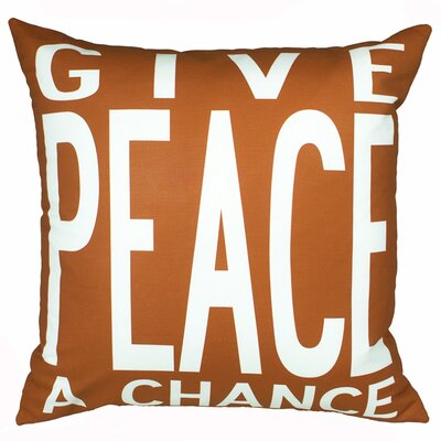 Peace Throw Pillow Color: Orange