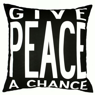 Peace Throw Pillow Color: Black