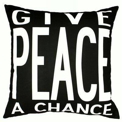 Peace Throw Pillow Color: Black