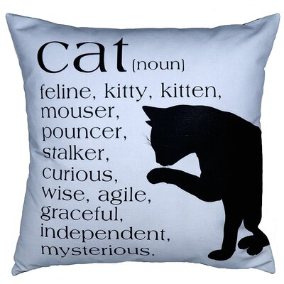 Cat Throw Pillow Color: Blue