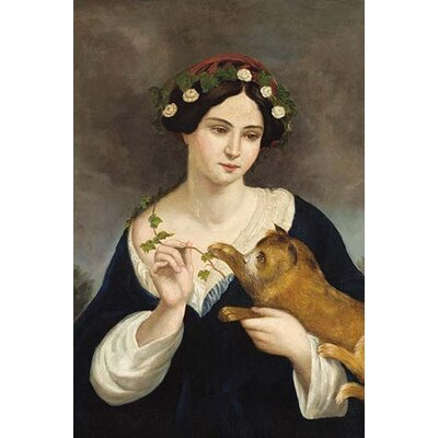 'Portrait of A Woman with A Cat and Ivy' by Juan Cordero Graphic Art 0-587-29976-2C2842