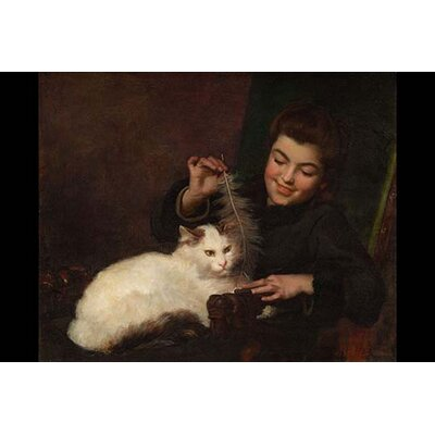 'Portrait of A Girl with Cat' by Antoine Jean Bail Graphic Art 0-587-29963-0