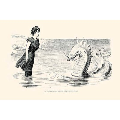 'No Wonder the Sea Serpent Frequents Our Coast' by Charles Dana Gibson Graphic Art 0-587-27741-6C4466