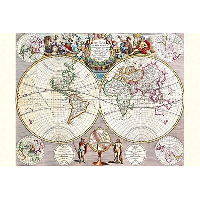 'World Map with Figural Representations of The World's Peoples' by John Seney Graphic Art Size: 36