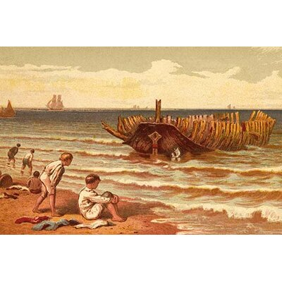 "'Childen Play on The Beach Near The Hulk of A Wrecked Boat' by Kronheim and Dalziels Painting Print Size: 24"" H x 36"" W x 1.5'' D 0-587-31637-3C2436"