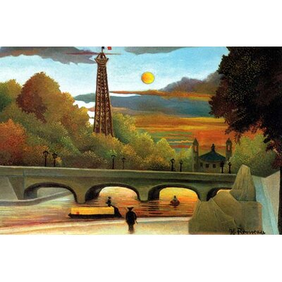 Eiffel Tower at Sunset by Henri Rousseau Painting Print Size: 28