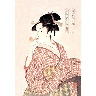 Woman Playing a Poppin by Kitigawa Utamaro Painting Print Size: 66
