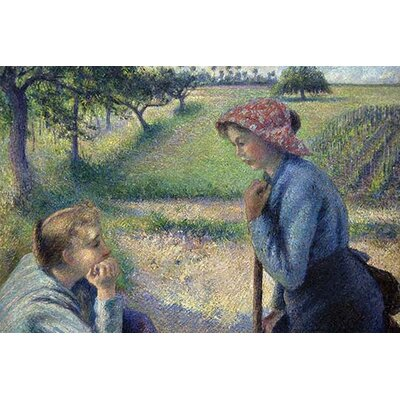 'Two Young Peasant Women' by Camille Pissarro Painting Print 0-587-60504-L