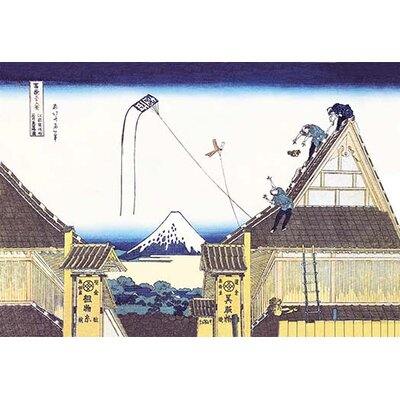 "Kite Flying from Rooftop by Katsushika Hokusai Painting Print Size: 66"" H x 44"" W x 1.5"" D"