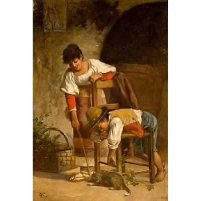 'Peasants with A Cat' by Carlo Valensi Graphic Art 0-587-29969-x