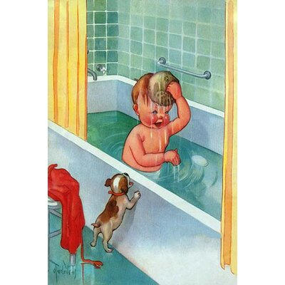 'Barking Puppy Sponge Bath' by Mildred Plew Merryman Painting Print 0-587-31515-6C2842