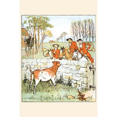 'The Huntsmen Looked Over A Stone Wall at A Cow' by Randolph Caldecott Painting Print 0-587-31686-1C2842