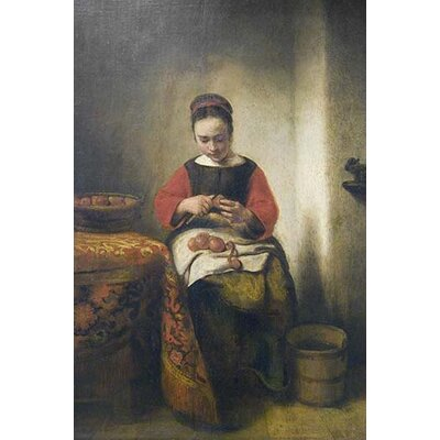 'Young Girl Peeling Apples' by Nicolaes Maes Painting Print 0-587-60915-L