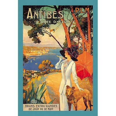'Antibes (PLM), Lady in White with Parasol and Dog' by David Dellepiane Vintage Advertisement 0-587-00005-8C4466