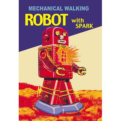 Mechanical Walking Red Robot with Spark Vintage Advertisement 0-587-02065-2C2842