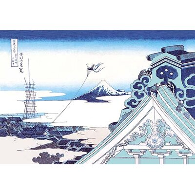 "Kite Flying in View of Mount Fuji by Katsushika Hokusai Painting Print Size: 66"" H x 44"" W x 1.5"" D"