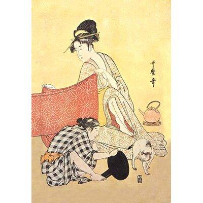 Two Women and a Cat by Kitigawa Utamaro Painting Print 0-587-04609-0