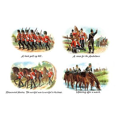 A Hard Pull up Hill, Cause for the Ambulance, Dismounted Heavies, and Watering after a March by Richard Simkin Painting Print Size: 42