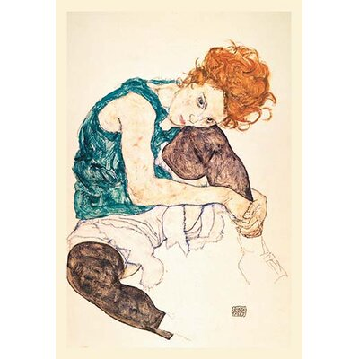PAINTER's Wife, Seated by Egon Schiele Painting Print 0-587-06614-8