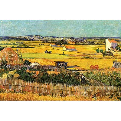 'Harvest at La Crau with Montmajour in the Background' by Vincent Van Gogh Painting Print Size: 36