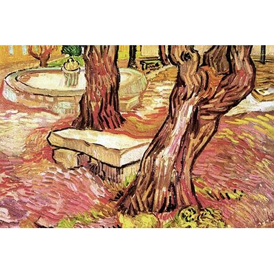 'The Stone Bench in the Garden of Saint-Paul Hospital' by Vincent Van Gogh Painting Print 0-587-25666-4