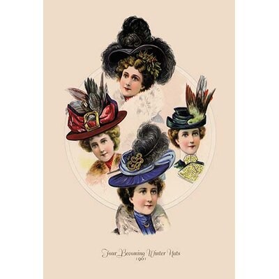 Four Becoming Winter Hats Painting Print 0-587-13405-4C2436