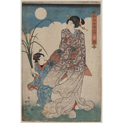 "'Full Moon Over Woman and a Young Girl' by Utagawa Kunisada Graphic Art Size: 66"" H x 44"" W 0-587-24419-4C4466"