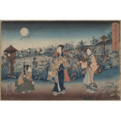 'Moonlight Meeting of Two Women and a Man' by Uragawa Toyokuni Graphic Art 0-587-24413-5