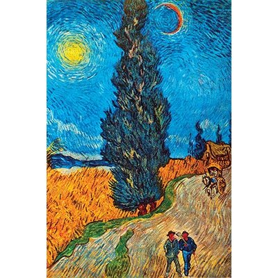 'Road With Cypresses' by Vincent Van Gogh Painting Print 0-587-23235-8