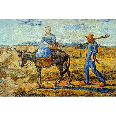 """'Morning with Farmer and Pitchfork' by Vincent Van Gogh Painting Print Size: 30""""H x 20"""" W 0-587-25639-7"""