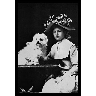 Woman in Bonnet with Maltese Terrier Photographic Print 0-587-04369-5
