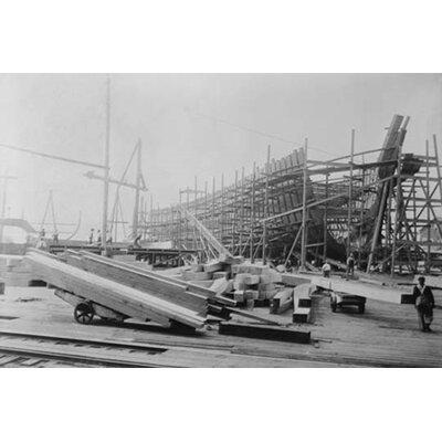 'Construction of Wooden Ribbed Ship in Peninsula Yard Portland Oregon' Photographic Print 0-587-45987-LC2436