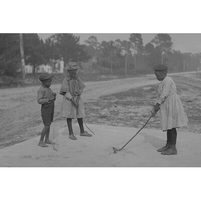 'African American Children Pretend to Play Golf on Country Road' Photographic Print 0-587-46146-LC2842