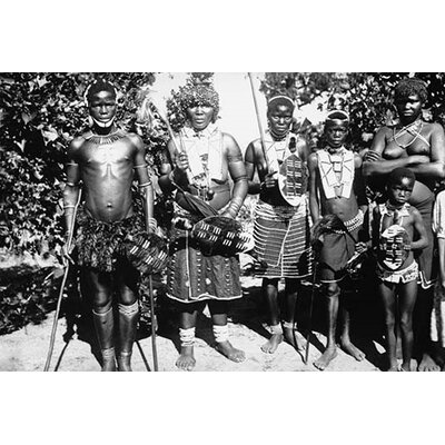 'Zulu Warrior Tribesmen with Spears and Shields' Photographic Print 0-587-46176-L