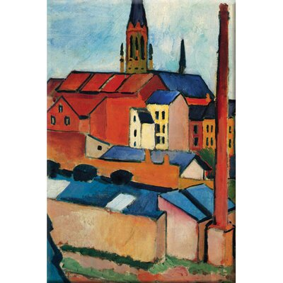 'St. Mary's Church with Houses and Chimney' by August Macke Painting Print on Canvas 25750-4C1624