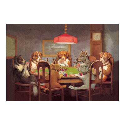 'Passing the Ace Under the Table (Dog Poker)' by C.M. Coolidge Painting Print 0-587-00000-7C2436