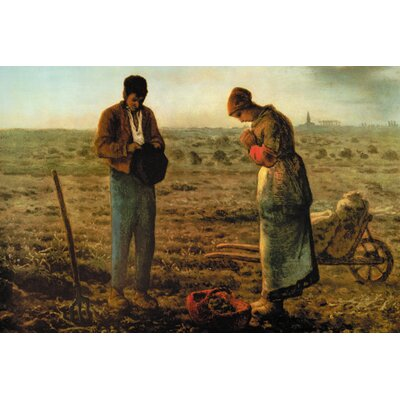 Angelus by Jean-François Millet Framed Painting Print on Wrapped Canvas Size: 20