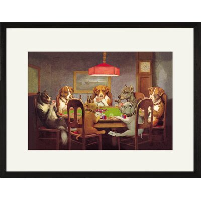 'Passing the Ace Under the Table (Dog Poker)' by C.M. Coolidge Framed Painting Print 0-587-00000-7C2030