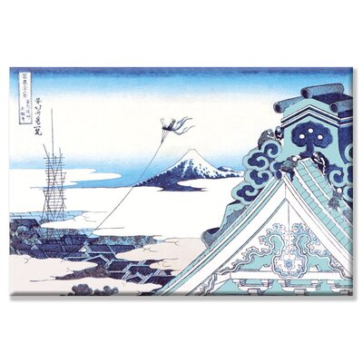 "Kite Flying in View of Mount Fuji by Katsushika Hokusai Painting Print on Wrapped Canvas Size: 20"" x 30"