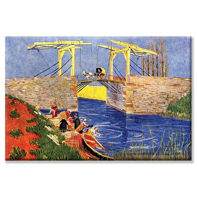 """Langlois Bridge at Arles with Women Washing by Vincent Van Gogh Painting Print on Wrapped Canvas Size: 20"""" x 30"""" 0-587-25664-8C2030"""