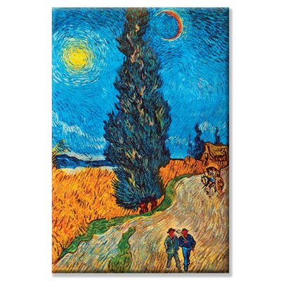 "Road with Cypresses by Vincent Van Gogh Painting Print on Wrapped Canvas Size: 30"" H x 20"" W 23235-8C2030"