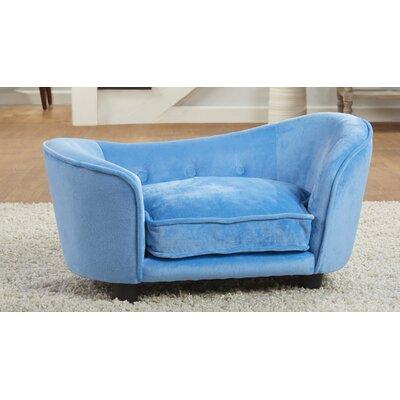 Ultra Plush Snuggle Dog Sofa with Cushion Color: Light Blue