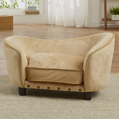 Ultra Plush Snuggle Dog Sofa with Cushion Color: Caramel